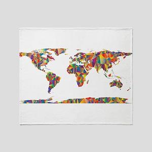 Chromatic Rainbow World Map Throw Blanket