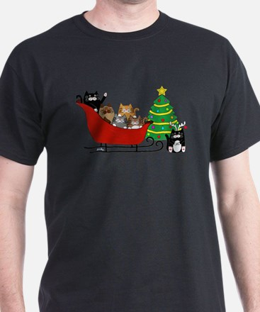 6 Kitty Cat, Sleigh Christmas Tree - PNG T-Shirt