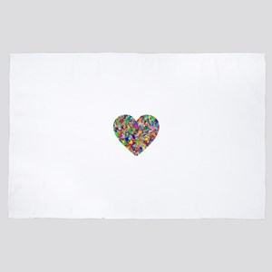 Rainbow Paint Splatter Heart 4' x 6' Rug