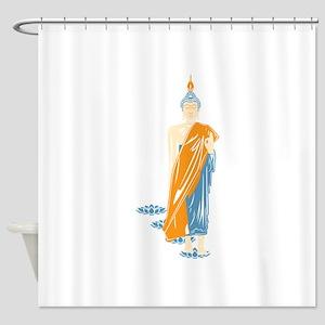 Standing Buddha (White) Shower Curtain