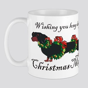 Dachshund in Wreaths (black a Mug
