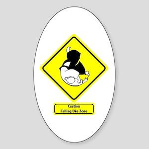 """""""Falling Uke Zone"""" Oval Sticker"""