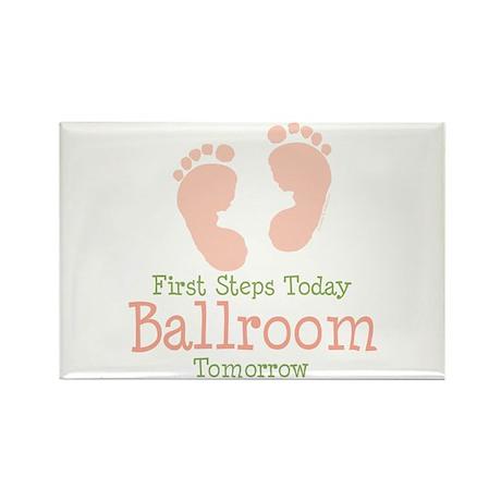 Pink Footprints Ballroom Dancing Rectangle Magnet