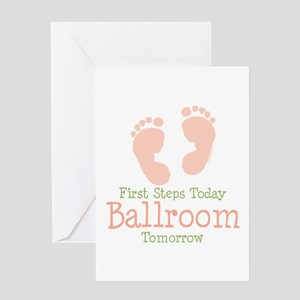 Pink Footprints Ballroom Dancing Greeting Card