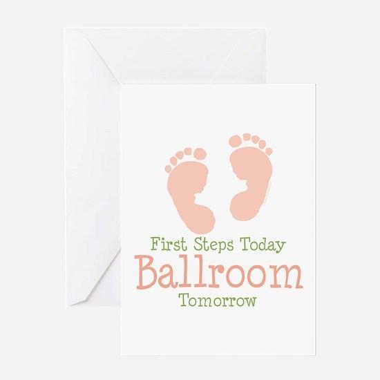 Pink Footprints Ballroom Dancing Greeting Card