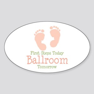 Pink Footprints Ballroom Dancing Oval Sticker