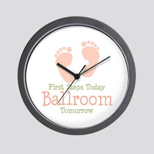 Pink Footprints Ballroom Dancing Wall Clock