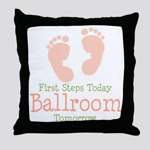 Pink Footprints Ballroom Dancing Throw Pillow