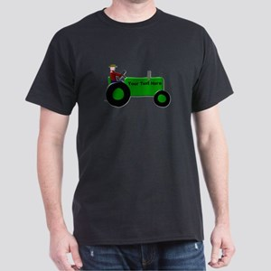 Personalized Green Tractor Dark T-Shirt