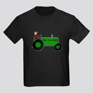 Personalized Green Tractor Kids Dark T-Shirt