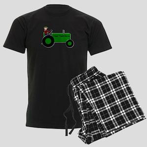 Personalized Green Tractor Men's Dark Pajamas