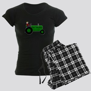 Personalized Green Tractor Women's Dark Pajamas