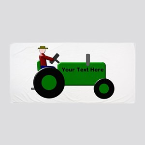 Personalized Green Tractor Beach Towel
