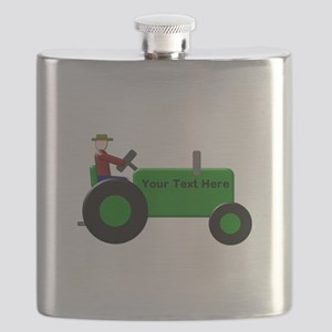 Personalized Green Tractor Flask