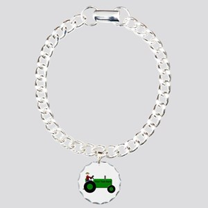 Personalized Green Tract Charm Bracelet, One Charm