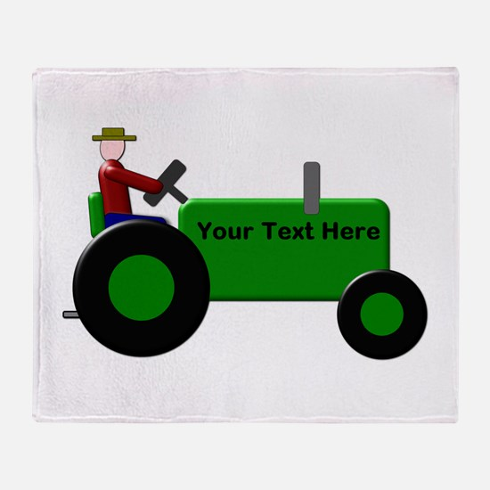 Personalized Green Tractor Throw Blanket