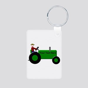 Personalized Green Tractor Aluminum Photo Keychain