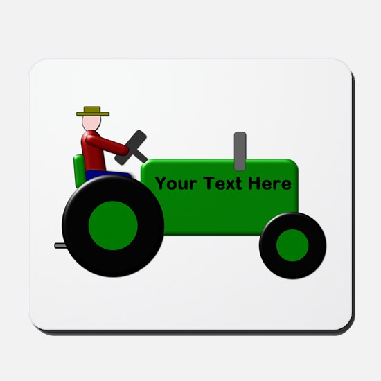 Personalized Green Tractor Mousepad