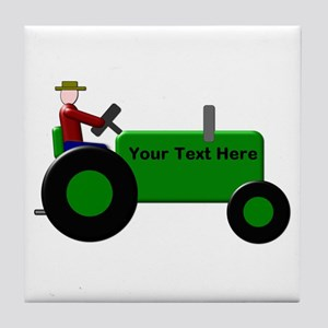 Personalized Green Tractor Tile Coaster