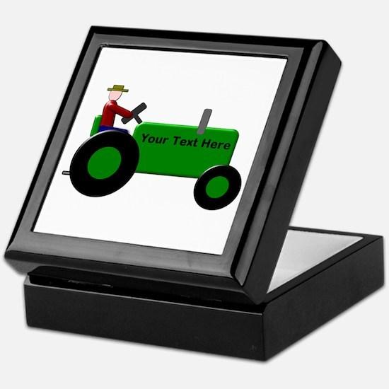 Personalized Green Tractor Keepsake Box