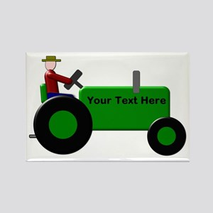 Personalized Green Tractor Rectangle Magnet