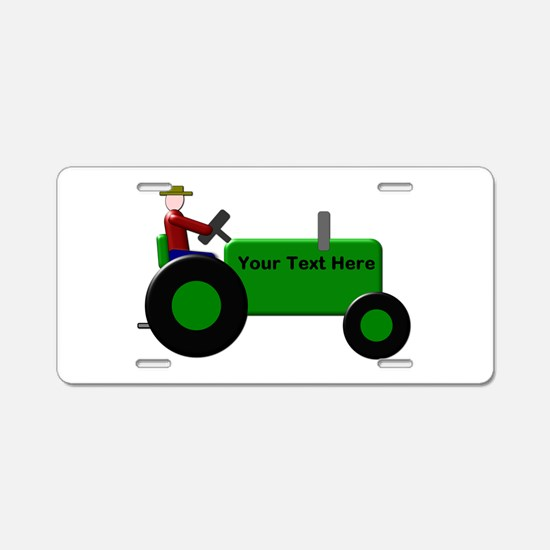 Personalized Green Tractor Aluminum License Plate