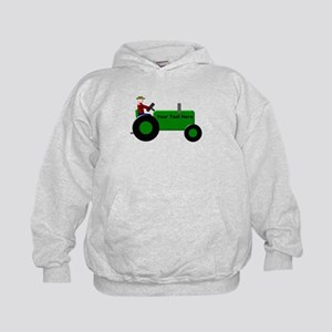Personalized Green Tractor Kids Hoodie