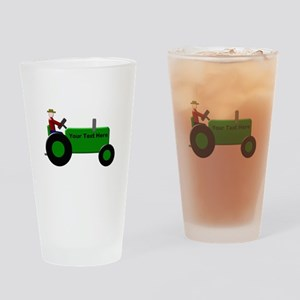 Personalized Green Tractor Drinking Glass