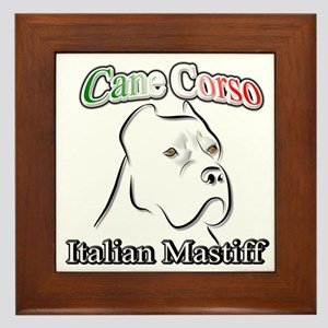 Cane Corso white t Framed Tile