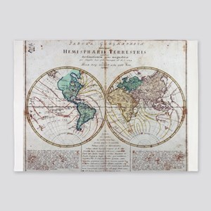 Vintage Map of The World (1760) 5'x7'Area Rug
