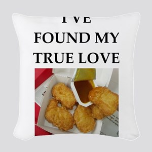 chicken nuggets Woven Throw Pillow
