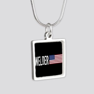 Careers: Welder (U.S. Flag Silver Square Necklace
