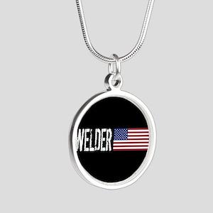 Careers: Welder (U.S. Flag) Silver Round Necklace