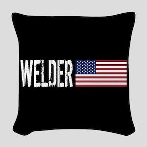 Careers: Welder (U.S. Flag) Woven Throw Pillow