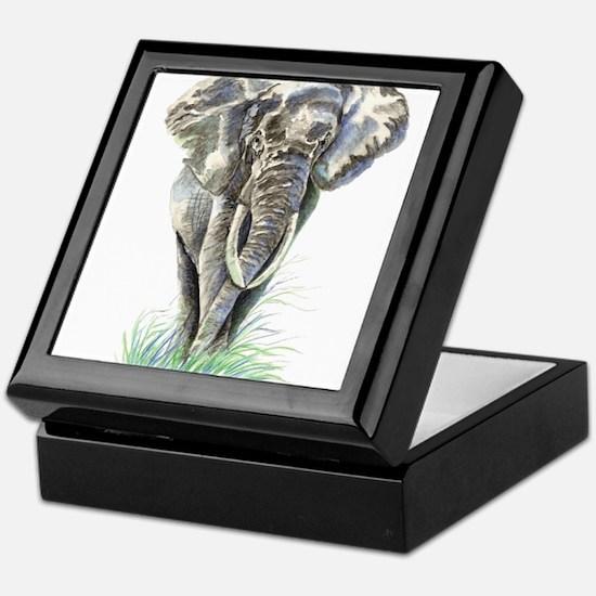 Watercolor Elephant Animal art Keepsake Box
