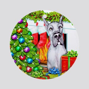 Great Dane Stockings Blue Ornament (Round)