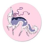 Ballet Borzoi Pastel Pink Round Car Magnet