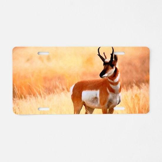 Lone Antelope Aluminum License Plate
