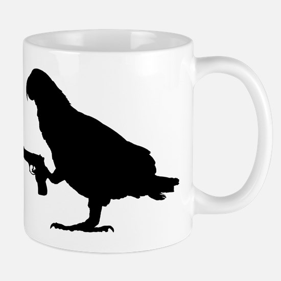 African grey Parrot with gun Mugs