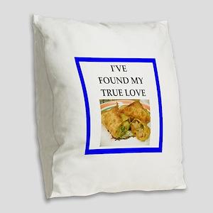 egg rolls Burlap Throw Pillow