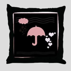 Framed Pink Umbrella Black Design Throw Pillow