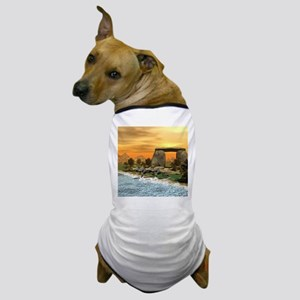 Funny dinosaur running on the beach Dog T-Shirt