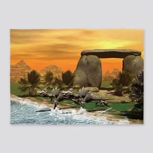 Funny dinosaur running on the beach 5'x7'Area Rug