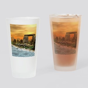 Funny dinosaur running on the beach Drinking Glass