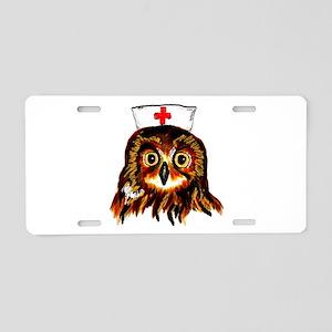 Nurse owl Aluminum License Plate