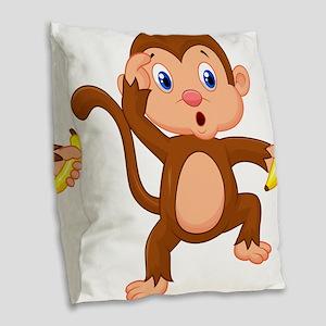 Monkeying around Burlap Throw Pillow