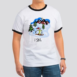 I Ski Stick Figure Ash Grey T-Shirt