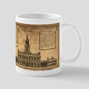 Vintage Illustration of Independence Hall Mugs