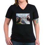 Creation/Rottweiler Women's V-Neck Dark T-Shirt