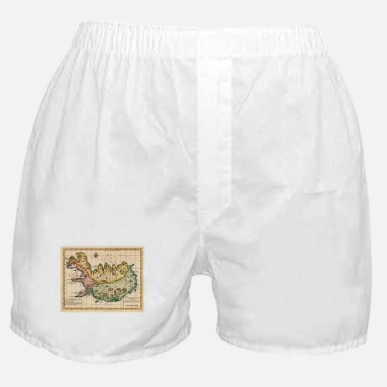 Vintage Map of Iceland (1756) Boxer Shorts
